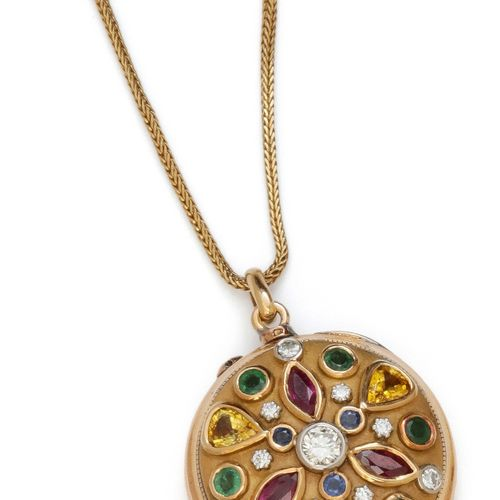 A pendant opening transformed from a pocket watch, adorned on one side with a ro…