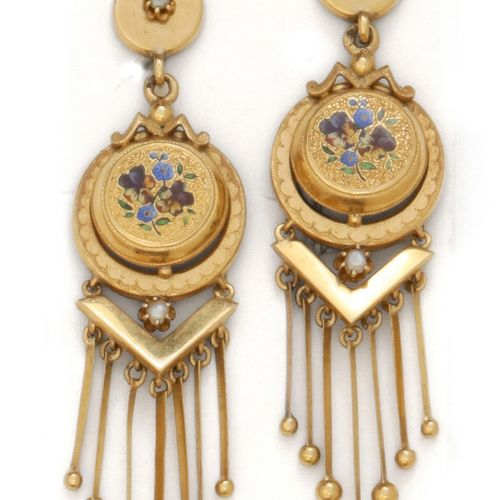 A pair of yellow gold earrings, decorated with enamel inlays and flowers. Napole…