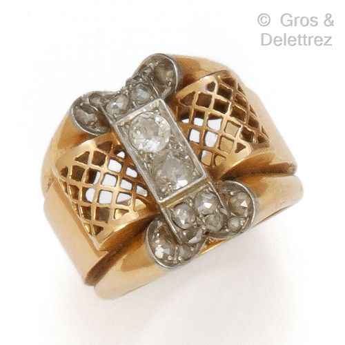 """Yellow gold AND PLATINUM """"Tank"""" ring with a fishnet design set with two old cut …"""