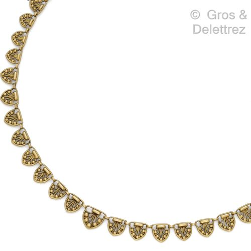 """Yellow gold """"Collerette"""" necklace with openwork decoration of filigree and beade…"""