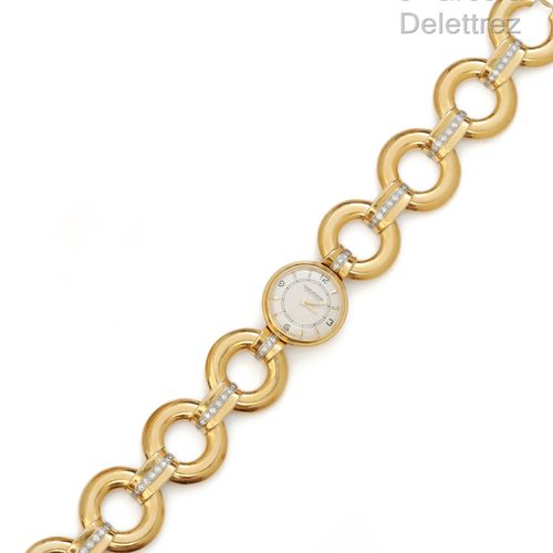 """JAEGER LECOULTRE """"Bracelet"""" Yellow gold ladies' watch with circular links, round…"""