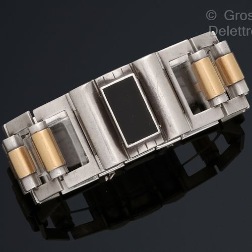 Jean DESPRES (1889 1980) Silver flexible bracelet, composed of onyx plates with …
