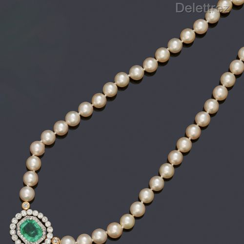 Necklace composed of a row of cultured pearls, set with a central motif of an oc…
