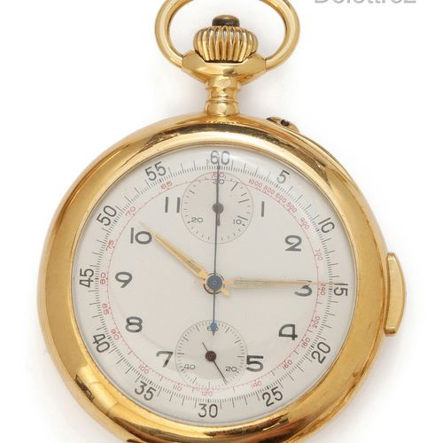 Yellow gold pocket watch, round case, silvered dial with two counters and painte…