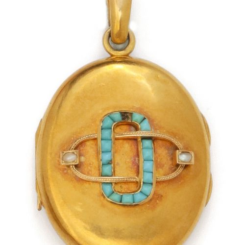 "Yellow gold pendant ""Porte souvenir"", decorated with interlaced oblong motifs se…"