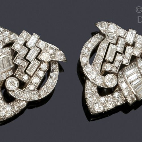 Pair of platinum and white gold lapel clips with geometrical design entirely set…