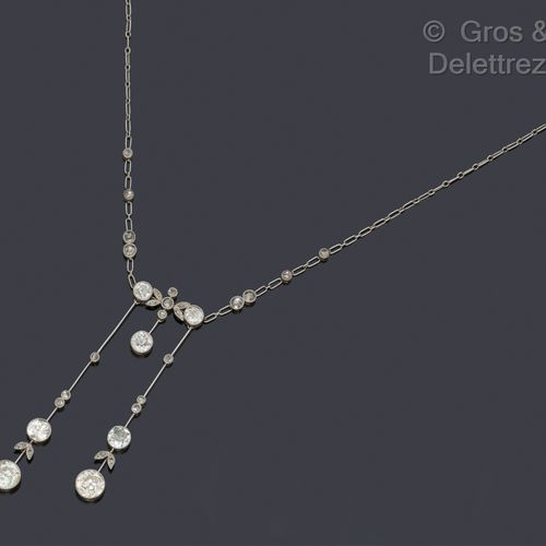 """Platinum """"Neglected"""" necklace decorated with leaves and set with old cut diamond…"""