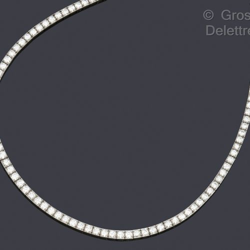 "CARTIER Necklace ""River"" in white gold, entirely set with brilliant cut diamonds…"