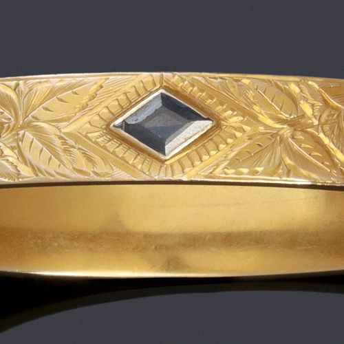 """Yellow gold """"Opening Bracelet"""" with two old cut diamonds and a blue stone. Wrist…"""