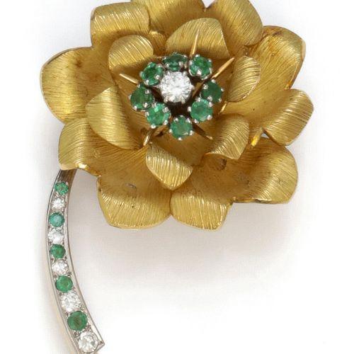 "Gold and platinum ""Flower"" brooch, the mobile pistil figured with a brilliant cu…"