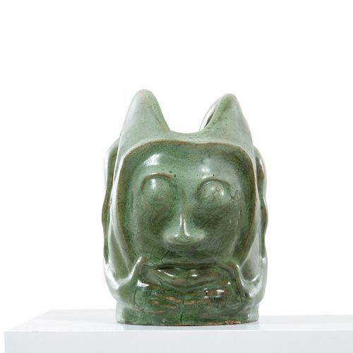 Paco DURRIO (1869 1940) Grotesque head  Rare and exceptional enamelled stoneware…