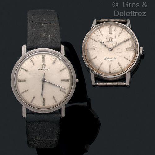 OMEGA Lot de 2 montres des années 60 en acier. Dont l'une manque le remontoir.