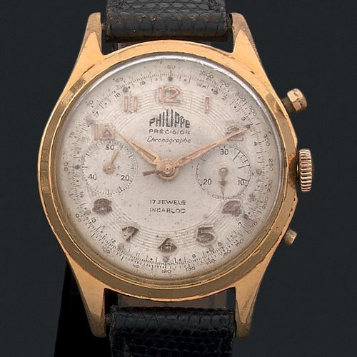 PHILIPPE Chronographe Suisse. Vers 1950  Chronographe en plaqué or 2 compteurs. …