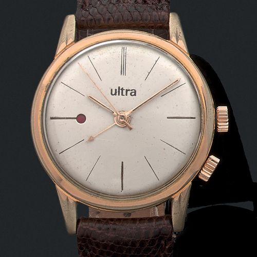 ULTRA Vers 1950  Modèle homme «Alarme» en plaqué or. Cadran argenté, index, et…
