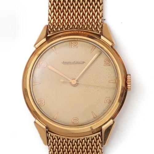 JAEGER LECOULTRE Bracelet montre en or jaune, boîtier rond, cadran crème à chiff…