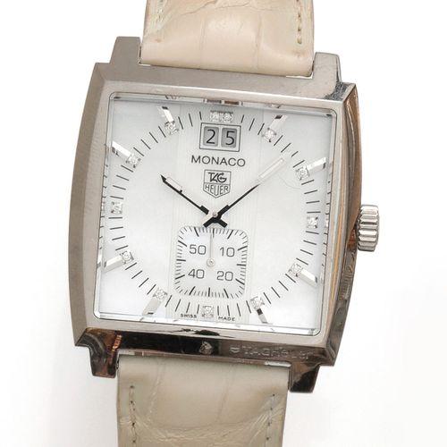 TAG HEUER «Monaco» – Bracelet montre de dame en acier. Boîtier carré, cadran n…