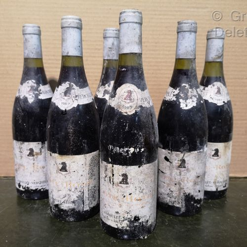 6 bottles  CÔTE RÔTIE Brown and blond Jaboulet Vercherre 1987 Stained and damage…