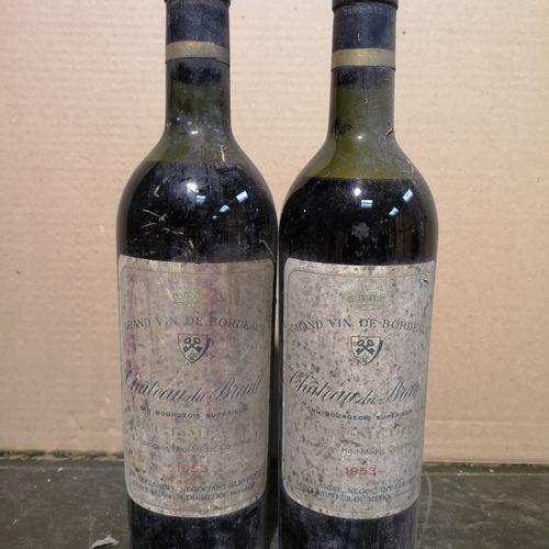 2 bottles  Château Du BREUIL Haut Médoc 1953 Stained labels, mid and low shoulde…