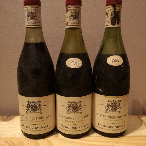 3 bottles  CHÂTEAUNEUF DU PAPE Ph. BOUCHARD & Cie 1964 FOR SALE AS IS