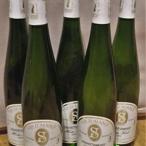 "5 bottles  GEWURZTRAMINER ""Hinter Kirch"" E. SCHALLER 2011 Slightly stained label…"