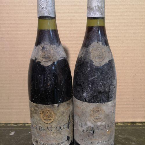 2 bottles  CLOS de VOUGEOT Grand cru Jaboulet Vercherre 1986  Stained and damage…