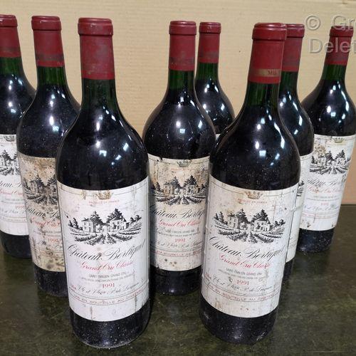 8 magnums  Château BERLIQUET Saint Emilon Grand cru 1991 Stained labels.