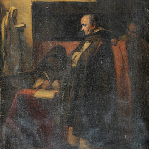 School of the XIXth century  Two capuchins studying.  Oil on canvas  38 x 29 cm.…