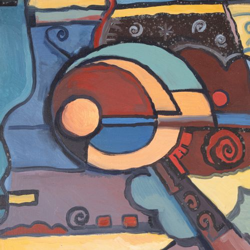 F. CROUZET (20th)  Composition with violin, 1993  Oil on canvas signed and dated…