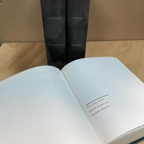 DANTE  The divine comedy  3 black bound volumes, Editions le club français du li…