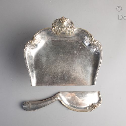 Christofle.  Silver plated crumb tray with rocaille decoration.