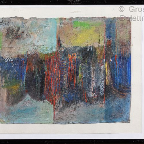 SALIN  Composition in red and blue  Mixed media on paper signed and dated 1999 l…