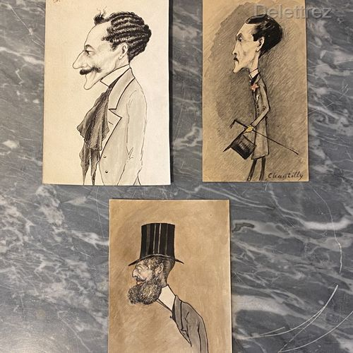 French school of the end of the 19th century  Lot of nine caricatures  Gouache, …