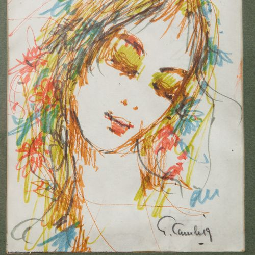 Guy CAMBIER  Portraits of a woman  Colored pencils signed on the bottom left and…