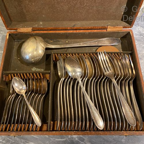 Art Deco style silver plated metal set consisting of twelve small spoons, twelve…