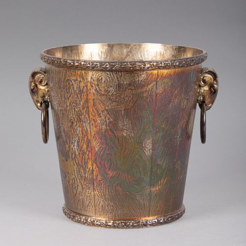 Silver plated metal bottle bucket with trompe l'oeil decoration of wooden boards…
