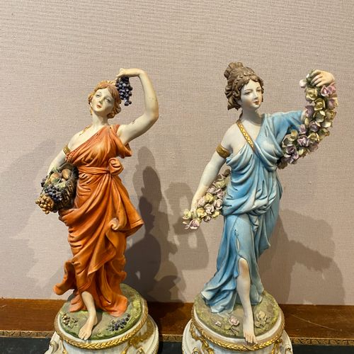 Italy, Tiche factory  Pair of partially polychrome biscuit sculptures depicting …