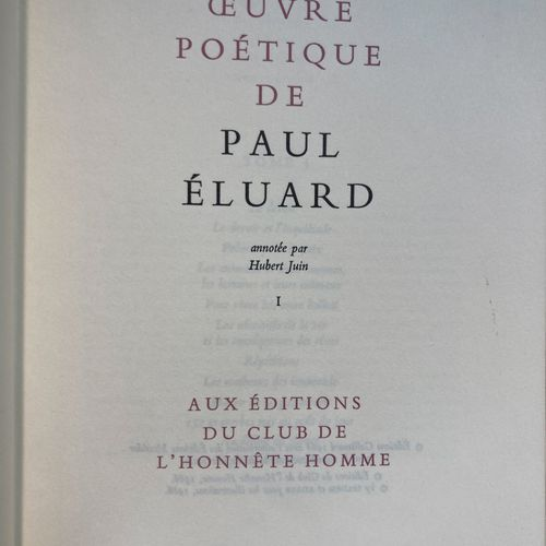Paul ELUARD  Poetic work  6 volumes, Editions du club de l'honnête homme  Damage…