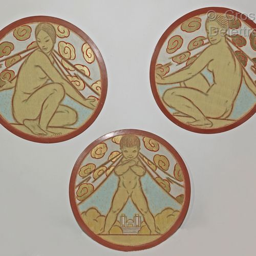 French school of the 20th century  Three painted medallions representing two wom…