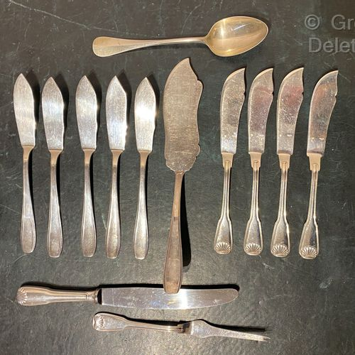 Set of art deco style silver plated cutlery including Ercuis.
