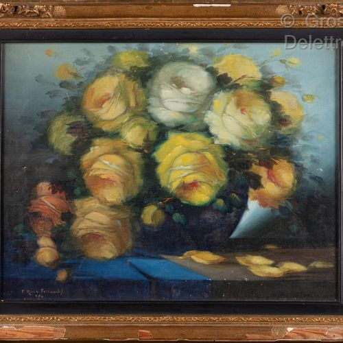 Francisco RUIZ FERRANDIS (1909 1992)  Bouquet of yellow roses  Oil on paper  33 …