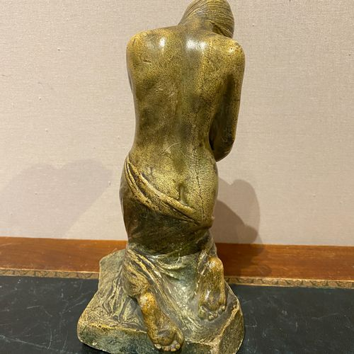 School of the XIXth century  Allegory of a spring in green patinated plaster. Ca…