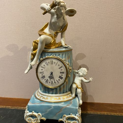 Italy, Manufacture of Tiche  A biscuit clock partially enamelled in marbled blue…