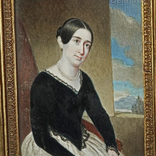 French school, circa 1850  Portrait of a woman seated in a wood and gilded stucc…