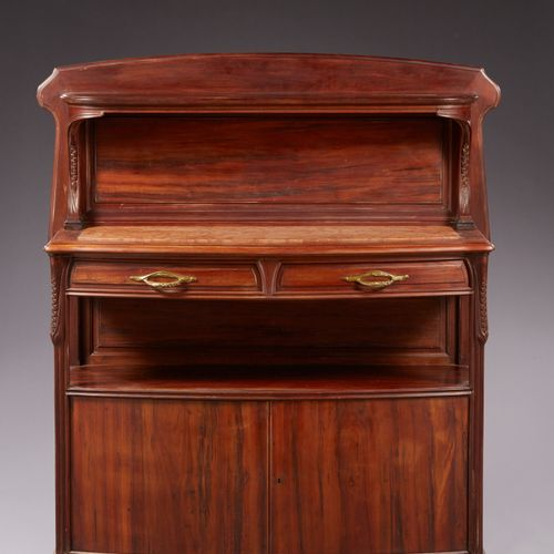 """Louis MAJORELLE (1859 1926) Credenza modello """"chicorée"""" in due parti in courbari…"""
