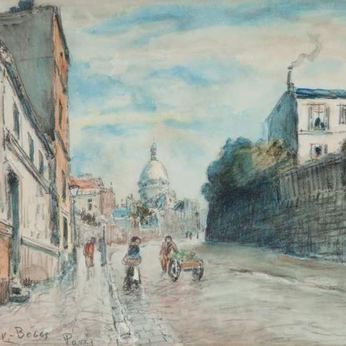 Franck Myers BOGGS ( 1855 1926) Rue à Montmartre, Paris Aquarelle et fusain, sig…