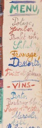 Maurice UTRILLO (1883 1955) Rue de Montmartre (Menu de Noël 1921) Gouache, signé…