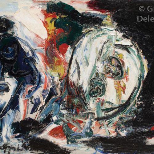 Karel APPEL (1921 2006) Deux têtes, bleue et blanche, 1960  Huile sur toile.  Si…