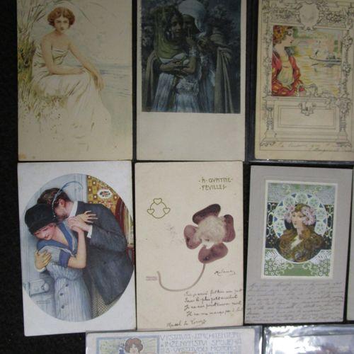 Ensemble de 15 cartes postales :   quatre à décor de femmes Art Nouveau contre c…