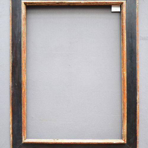 CADRE à profil renversé en bois noirci et argenté (petites usures et manques)  I…