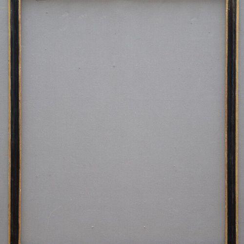 CADRE en sapin mouluré, noirci et bordure et feuillure dorée.  Italie, XVIIIème …
